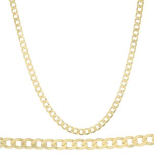 "SOLID 9ct Gold Italian Bevelled Edge Curb Chain - 26"" - 7mm"