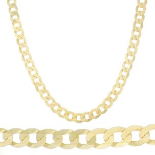 "SOLID 9ct Gold Italian Bevelled Edge Curb Chain - 22"" - 10mm"