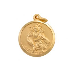 9ct Yellow Gold Single-Sided Round St. Christopher Pendant - 26mm
