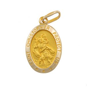 9ct Yellow Gold Oval St. Christopher Protect Us Pendant - 24mm