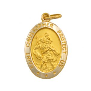 9ct Yellow Gold Oval St. Christopher Protect Us Pendant - 30mm