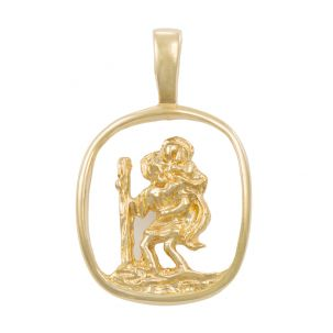 9ct Yellow Gold Cut-out 3D St. Christopher Pendant - 25mm