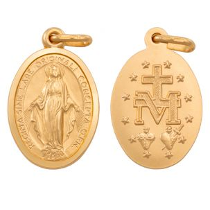 9ct Yellow Gold Miraculous Medallion Madonna Pendant - 27mm