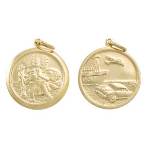 9ct Yellow Gold Double-Sided Round St. Christopher Pendant - 32mm