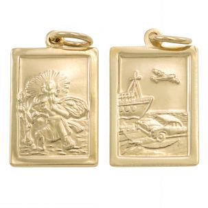 9ct Yellow Gold Double-Sided Square St. Christopher Pendant -29mm