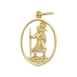 9ct Yellow Gold Oval Cut-out 3D St. Christopher Pendant - 28mm