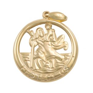 9ct Yellow Gold Round Cut-out 3D St. Christopher Pendant - 31mm