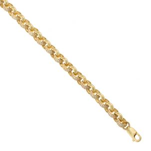 """9ct Yellow Gold Gem-set Round Belcher Link Chain - 7.5mm - 18"""" - 30"""""""