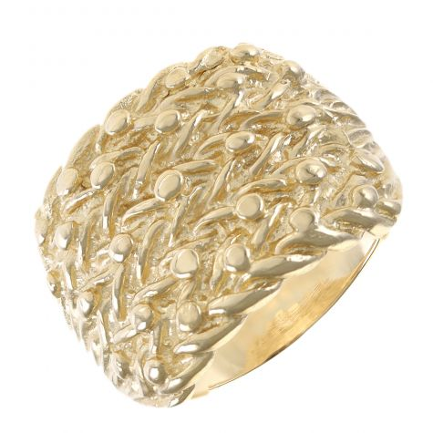 Heavy Hallmarked Solid 9ct Yellow Gold - Gent's 5 Row Keeper Ring