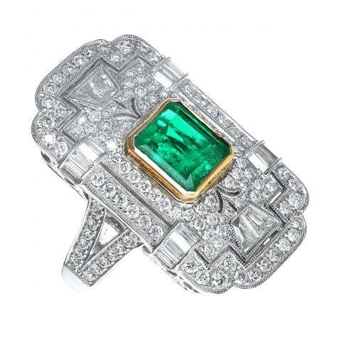 Art Deco Style 18ct White Gold Emerald & Diamond Ring - Certified