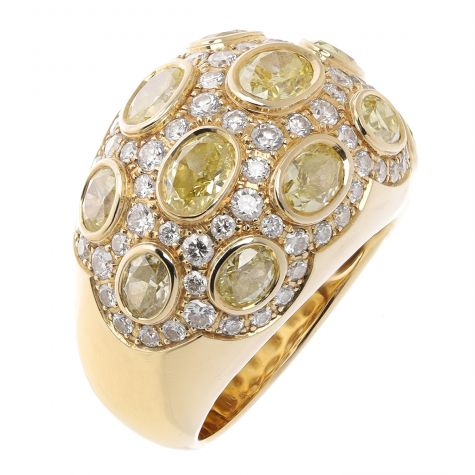 Certified 18ct Yellow Gold 5.65ct Diamond Cocktail Ring - Size N