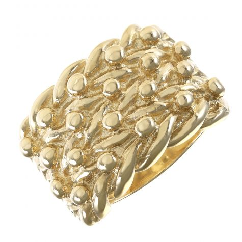 Heavy 9ct Yellow Gold Gents Four Row Classic Solid Keeper Ring