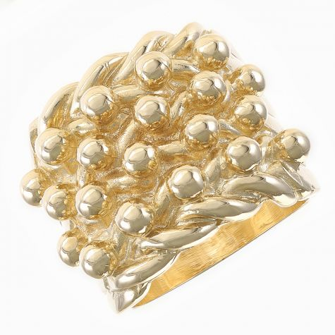 9ct Yellow Gold Four Row Large Solid Heavy Keeper Ring   -  Gents