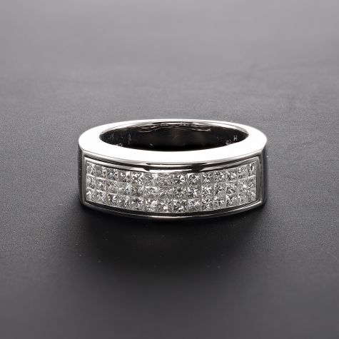 CERTIFIED 18ct White Gold 1.26ct Diamond Three Row Eternity Ring -Size M
