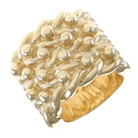 Solid 9ct Yellow Gold Large Super Heavy Gent's 4 Row Keeper Ring
