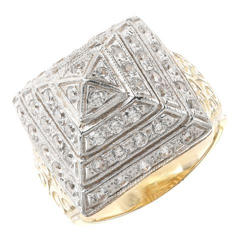 9ct Yellow Gold Handmade Solid Gemset Gent's Medium Pyramid Ring