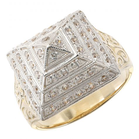 9ct Yellow Gold Solid Gem - set Small Pyramid Ring  - Gent's