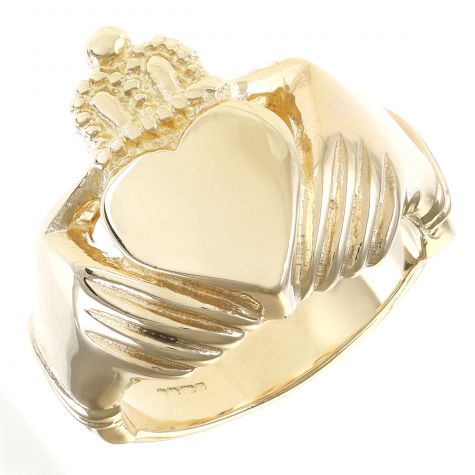 Solid 9ct Gold Handmade Gent's Large Heavy Classic Claddagh Ring