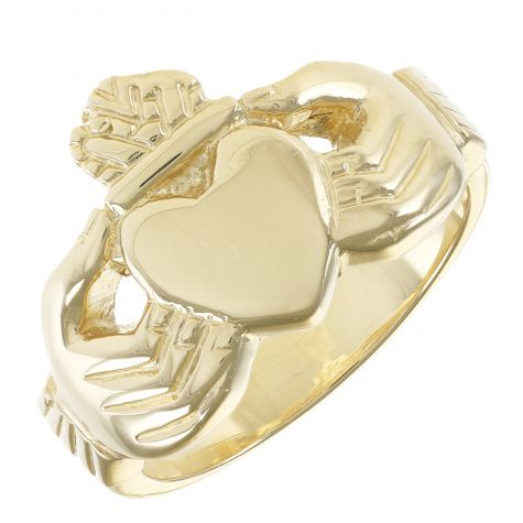 9ct Solid Yellow Gold Handmade Gent's  Classic Claddagh Ring