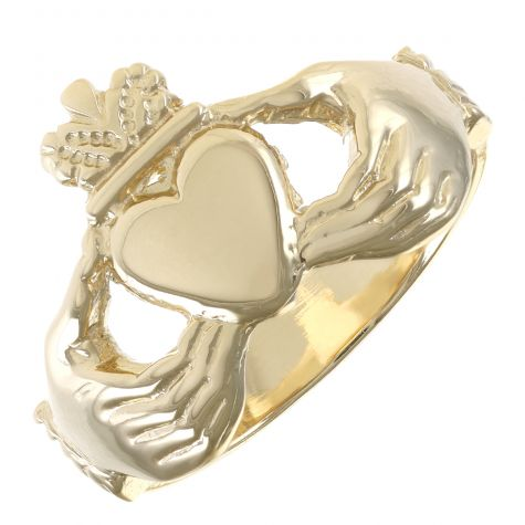 9ct Yellow Gold Handmade Gent's Small Classic Claddagh Ring