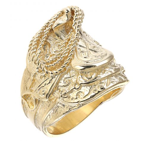 9ct Yellow Gold Handmade Solid Gent's Medium Saddle Ring