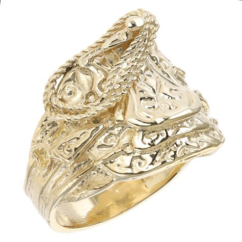 9 ct Yellow Gold Solid Gent's Classic Saddle Ring - Gents