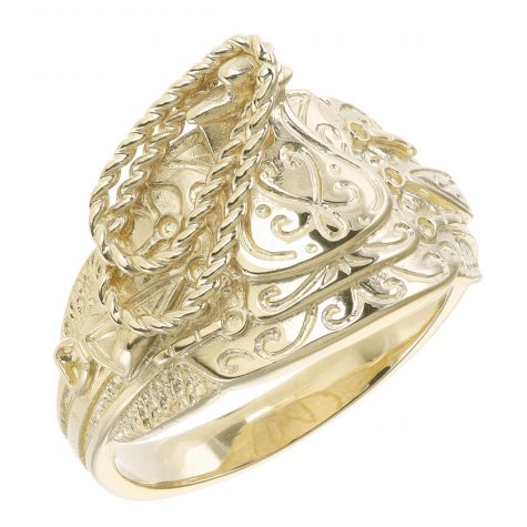 9ct Yellow Gold Solid Extra Small Light Saddle Ring - Gent's