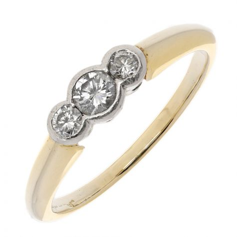 Pre-Owned 18ct Yellow Gold 0.33ct Diamond Trilogy Ring
