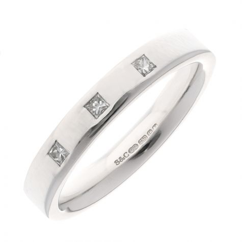 Pre-Owned 18ct White Gold 4mm Diamond Gents Band Ring - Size T