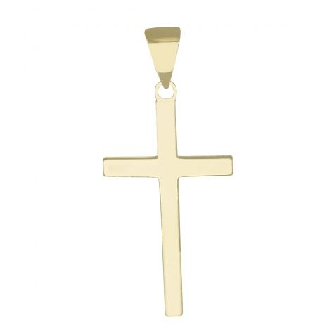 Solid 9ct Gold Square Classic Polished Cross Pendant - Size 2