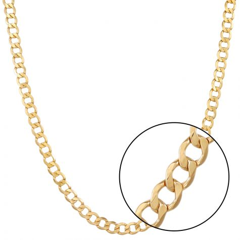 """SEMI SOLID - 9ct Yellow Gold Italian Made Curb Chain - 9 mm - 22"""""""