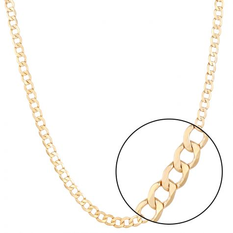 """SEMI SOLID - 9ct Yellow Gold Italian Made Curb Chain - 7 mm - 30"""""""