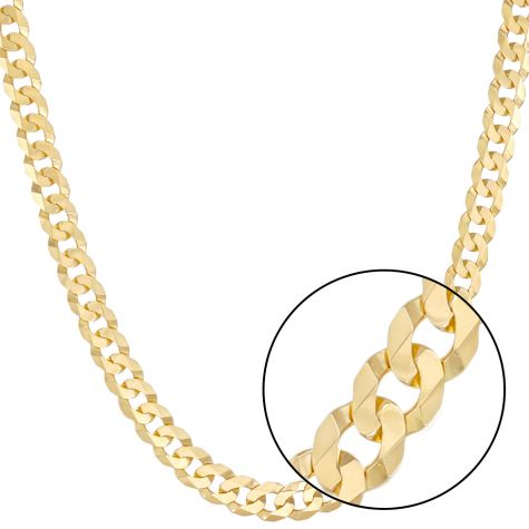 """SOLID  9ct Gold Italian Bevelled Edge Curb Chain - 12mm - 20"""""""