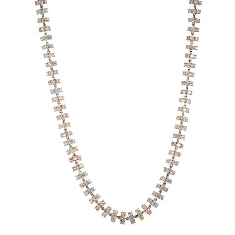 Heavy 9ct Gold Multi Tone Cubic Zirconia Chain - 27 inch