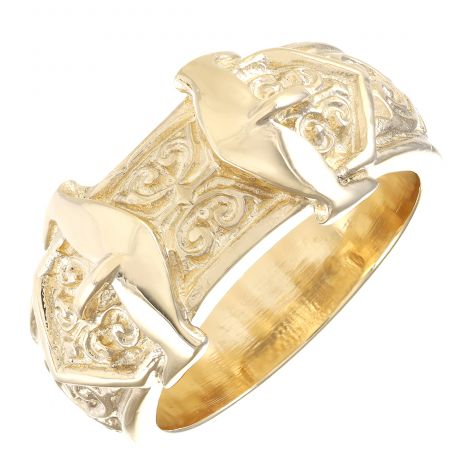 Solid 9ct Yellow Gold Gent's Medium Ornate Double Buckle Ring
