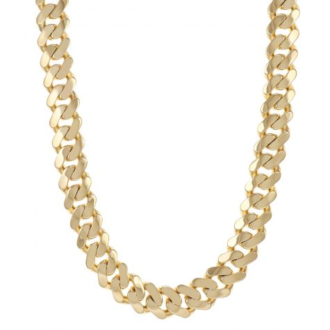 "9ct Yellow Heavy Gold Classic Cuban Link Curb Chain - 26"" - 17mm"