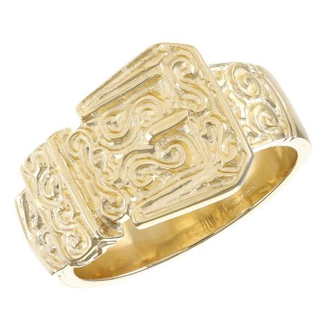 9ct Yellow Gold Solid Classic Ornate Deluxe Buckle Ring - Gent's