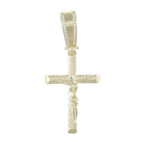 9ct Yellow Gold Cubic Zirconia Gemset Crucifix Cross Pendant