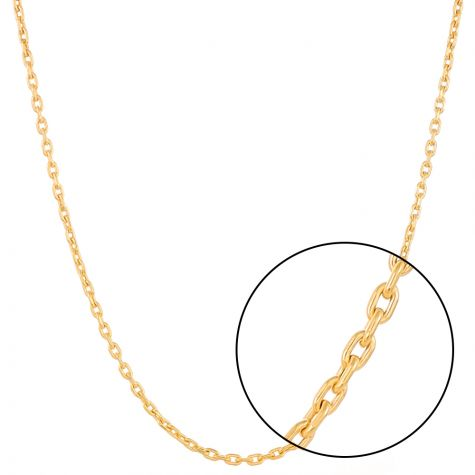 "9ct Gold Diamond Cut Oval Link Belcher Chain  - 20"" - 3.5 mm"