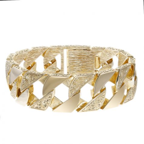 """9ct Gold Heavy-weight Solid Ornate Square Curb Bracelet - 9.25"""""""