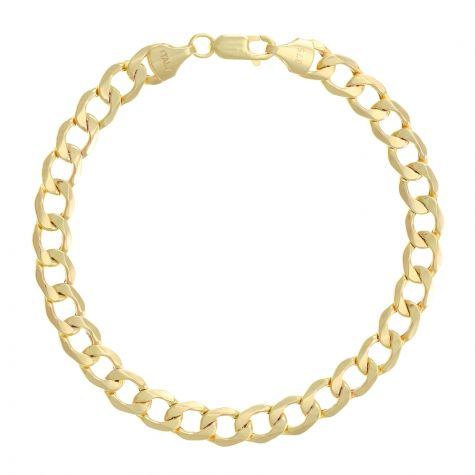 "SEMI SOLID 9ct Gold Italian Curb Bracelet - 7mm - 7.5"" Ladies"