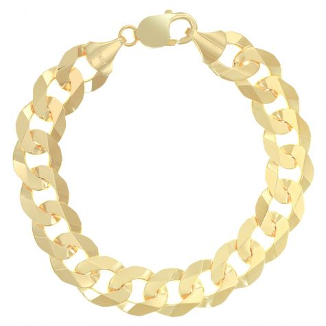 "SOLID 9ct Gold Italian Bevelled Edge Curb - 12mm - 7.5"" Ladies"