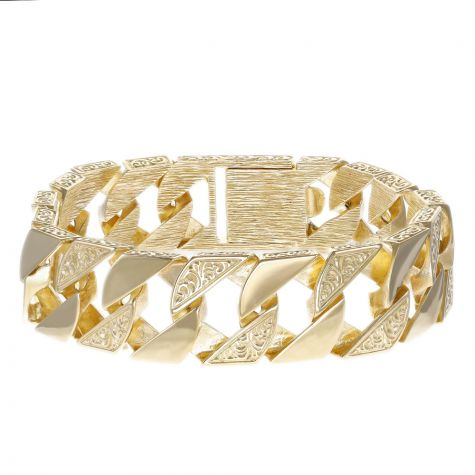 9ct Gold Heavy-weight Patterned / Polished Curb Bracelet - 8.75""