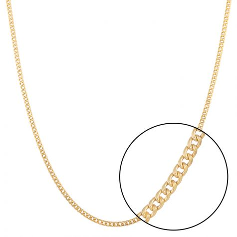 """SEMI SOLID - 9ct Yellow Gold Italian Made Curb Chain - 3 mm - 24"""""""