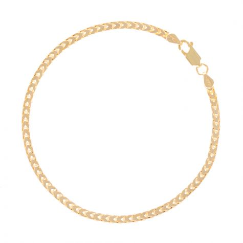 "SOLID 9ct Gold Italian Franco / Foxtail Bracelet - 3mm - 7.5"" Ladies"