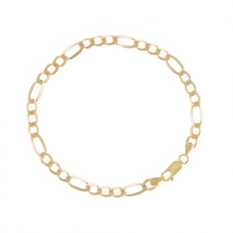 "SOLID 9ct Gold Italian Diamond Cut Figaro Bracelet - 5mm - 7.25"" Ladies"