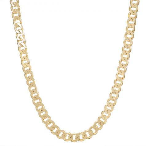 """9ct Gold Heavy Solid Bevelled Edge Curb Chain - 28"""" - 11mm"""