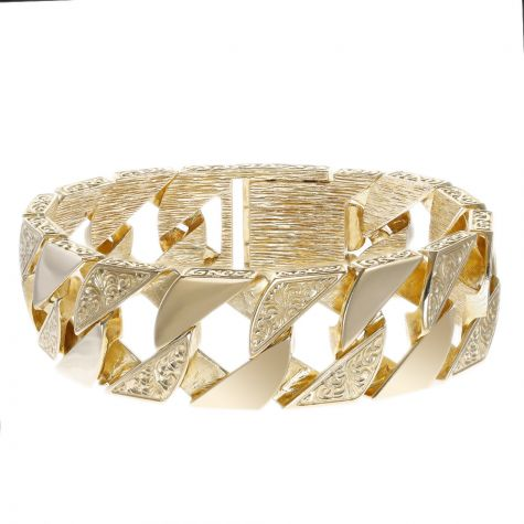"""9ct Gold Heavy-weight Solid Ornate Square Curb Bracelet - 8.75"""""""