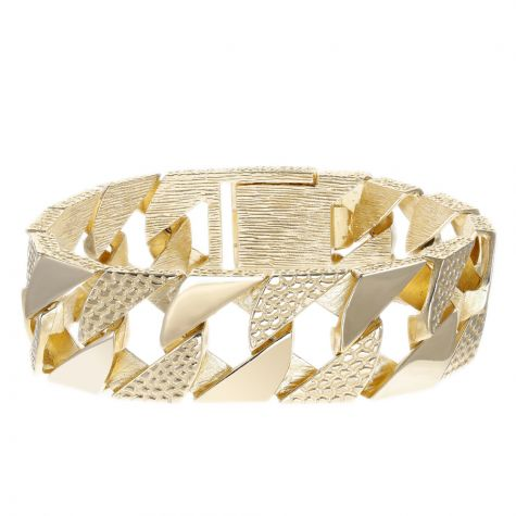 """9ct Yellow Gold Heavyweight Textured Gents Curb Bracelet - 9.25"""""""