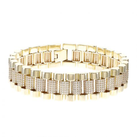 "9ct Gold Rolex Presidential Style Gem-Set Bracelet - 7.5 "" - 15mm"